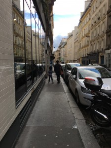 Dyson and Tracy walking the streets of Paris.